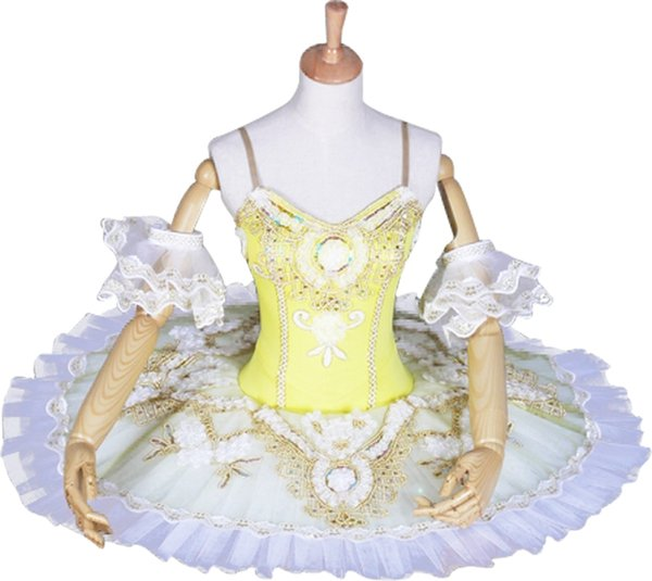 Yellow Ballet Costumes Adult Professional Platter Tutu Ballet Dress For Girls Women Swan Lake Classical Ballet Tutu Dancewear Kids