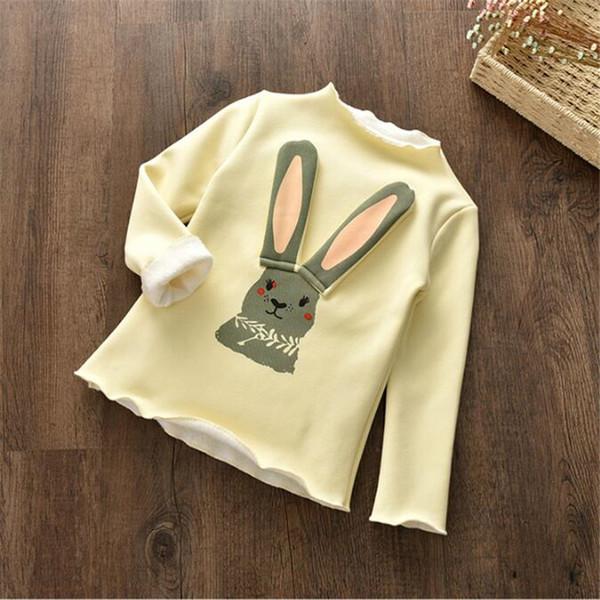 good quality autumn girls hoodies tops children plus velvet tops cartoon rabbit sweatershirts clothes casual birthday party tops