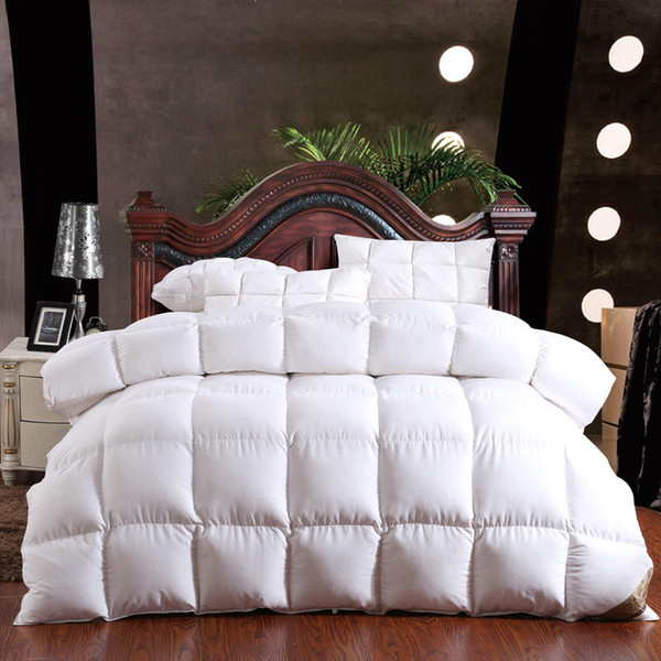 100% Gänsedaunen Winter Quilt Tröster Decke Duvet Füllung Baumwollbezug Twin Single Queen Supper King Size Gelb Weiß Rosa