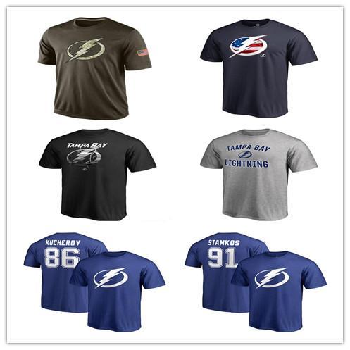 Beliebte NHL Tampa Bay Lightning T-Shirts 2019 Hockey Trikots T-Shirts Günstige Lightning Salute To Service Camouflage Herren Shirts Navy Blue