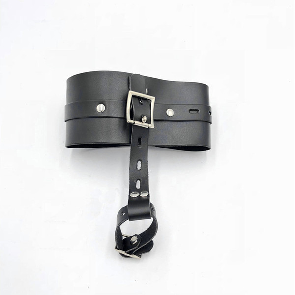 SM Leather Slave Collar Necklace with thumbs buckle cuff Black Restraints Train Foreplay BDSM Bondage Adult Toys Sex Products