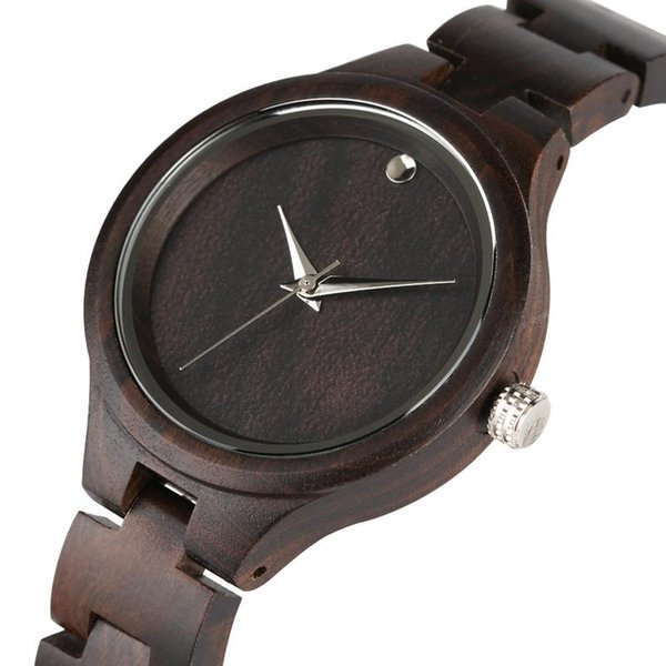 Casual All Black Wood Wrist Watches for Ladies,Super Lightweight Ebony Wooden Watch for Women,Natural Wooden Watches with Quartz Movement