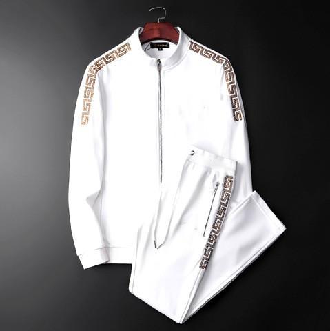 printemps de haute qualité du sport Automne Casual femmes Set Survêtement Hommes Hommes vestons + Pantalons Zipperversave Manteau Rue Noir Blanc Kits