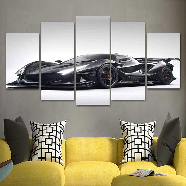 5 Panel HD Impreso Canvas Art Sports Car Painting Beautiful Home Decorativo Wall Art Poster Imagen para la sala de estar Obras de arte