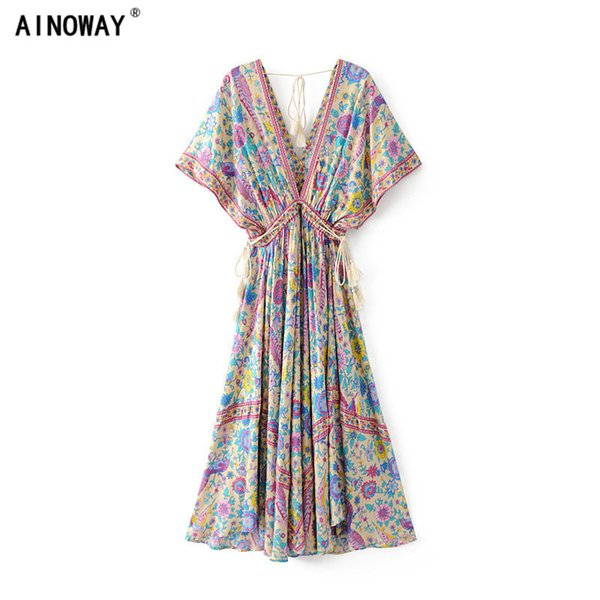 2018 vestidos dress Floral print bat sleeve beach long Bohemian dresses women maxi dress Ladies V neck Tassel Summer Boho dress Y190117