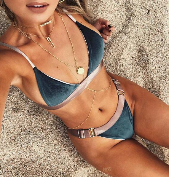 Blue Patchwork Bikini Polyester Sexy Backless Swimsuit Two Pieces Woman Bathing Suits Swimwear Wading Exercise With Chest Pad A0736