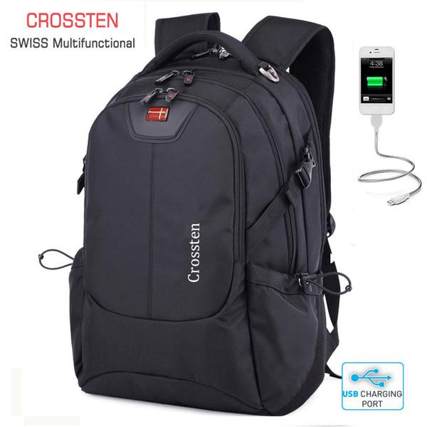 """Crossten Swiss Multifunctional External Usb Charge Port Laptop Bag Waterproof 16"""" Laptop Backpack Schoolbag Travel Bag Rucksack J190718"""