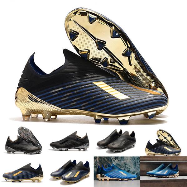 2019 Erkek Copa 19 + FG AG 19 + X 19 Sıcak Slip-On Şampanya Siyah Mavi Futbol Futbol Ayakkabı Botlar Scarpe Calcio Ucuz Cleats Eur 39-45
