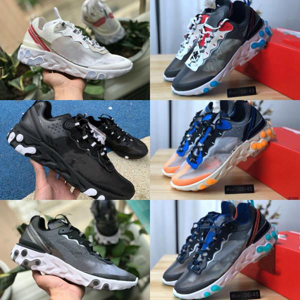 Satış 2019 Erkekler Kadınlar Antrasit Işık Kemik Üçlü Siyah Beyaz Moda Açık Eğitmenler Spor Sneaker İçin Eleman 87 55 Koşu Ayakkabı Tepki