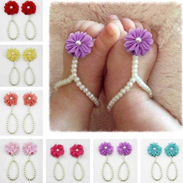 Infant Pearl Sandali Baby Strass Beach Pearl Flower Sandalo a piedi nudi Scarpe da gioielleria per bimbi Cute Girl Accessories TTA848
