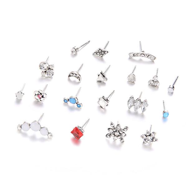 Set di orecchini a perno assortiti per adolescenti, ragazze, donne, simpatici perle, sole, luna, stella, cuore, motivo geometrico, piccola dichiarazione, set di orecchini a bottone