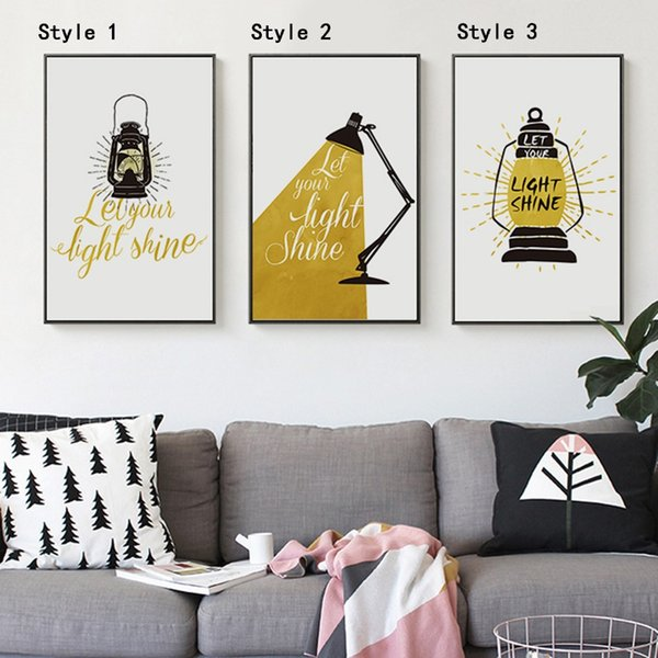 Modern Black White Nordic Kawaii Quotes Light Shine Art Print Poster Wall Picture Nursery Canvas Painting No Frame Baby Room posters