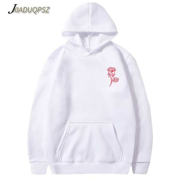 new fashion 2019 autumn winter latest harajuku poison rose print hoodies men women hip hop streetwear clothing, Black