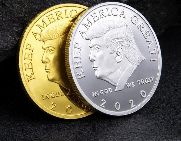 2020 Donald Trump Commemorative Coin American President Avatar Gold Coins Silver Badge Metal Craft Collection Republican SN2449
