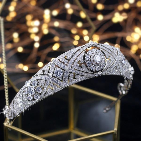 Asnora Gorgeous Crown Tiara De Noiva Meghan Markle Wedding Hair Accessories Women Hair Jewelry Zircon Bridal Crown And Tiaras Y19051302
