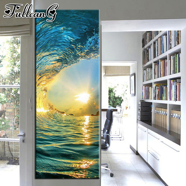 wholesale 5D diy diamond painting wave sunset scenery large 3D embroidery surge mosaic full square/round drill home decor FC1776