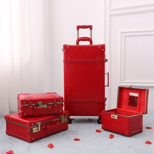 Le ragazze rosse della valigia della pelle del coccodrillo dei bagagli di viaggio rotolano il trasporto libero di alta qualità della serratura di password del filatore