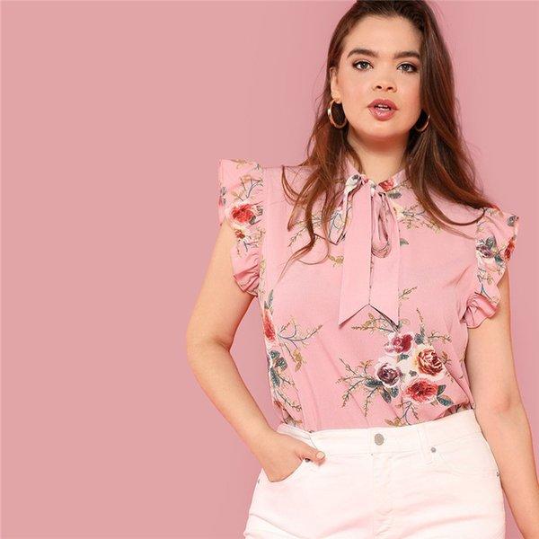 Floral Print Pink Ruffle Sleeve Tie Neck Plus Size Elégant Femmes Blouses Summer Fashion Office Lady Haut sans manches Blouse