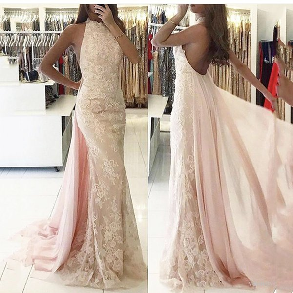 Baby Pink Chiffon Lace Prom Dress Sheath Sheer Halter Open Back Event Wear for Prom Lady Evening Maxi Gown Sexual Girl Graduation Dresses