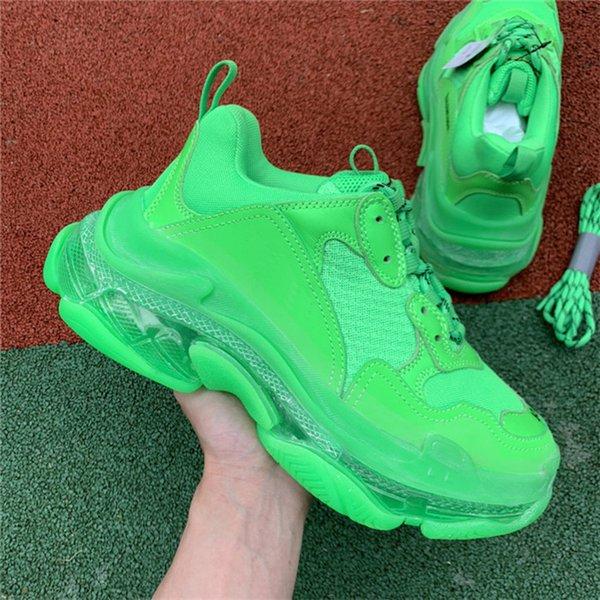 2019 Hombres Mujeres Diseñador de moda Zapatos casuales Zapatillas de deporte Cojín Triple S 3.0 Combinación de nitrógeno suela inferior de cristal Zapatos ocasionales papá