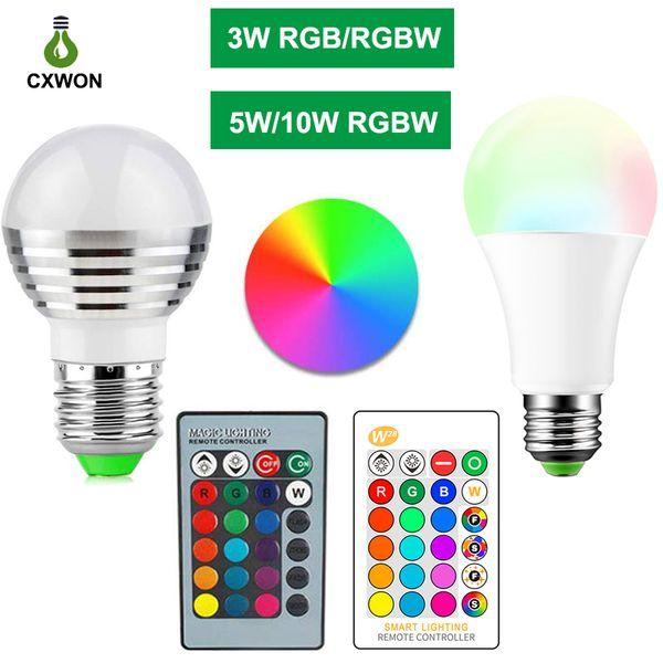 top popular E27 E14 LED 16 Color Changing RGB rgbw Light Bulb Lamp 85-265V RGB Led Light Spotlight + IR Remote Control 2020