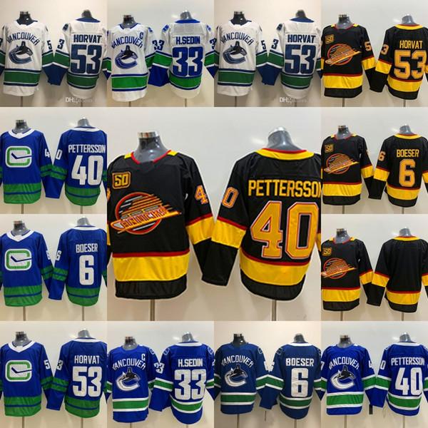 Ванкувер Кэнакс пятидесятых патч 40 Elias Pettersson Альтернативные черный Skate 6 Брок Бозер 53 Бо Хорват 33 Хенрик Седин Хоккей Трикотажные Мужчины