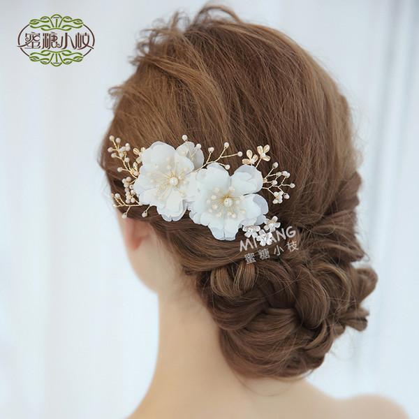 Fête de mariage perlé cadeau femme dame diamant fleur feuille cheveux bijoux pour mariée intérimaire graduation YY-44