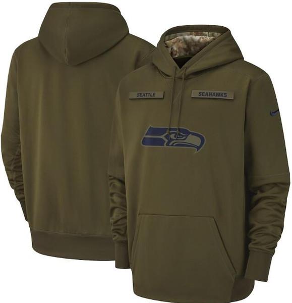 2019 Новый Сиэтл Мужчины Seahawks Салют для обслуживания Sideline Therma Performance Пуловер с капюшоном Оливковый