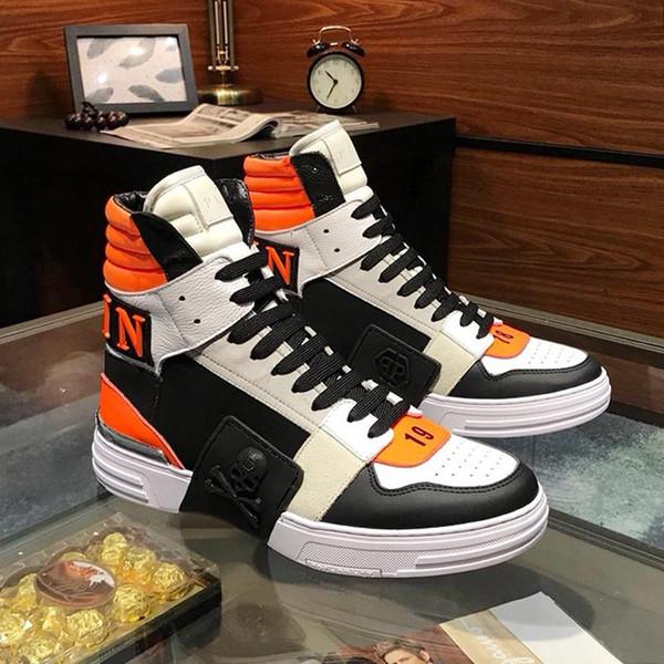 Philipp Plein PP Мужская обувь Мода кроссовки повседневная удобная Chaussures pour hommes Мужская обувь повседневная роскошь Phantom Kick$ Hi-Top L