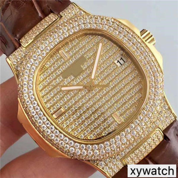 DM Luxury Watch Casual diamond watch Swiss 324 Automatic Movement 18k Gold Case Full Diamond Dial Sapphire Crystal Transparent case back