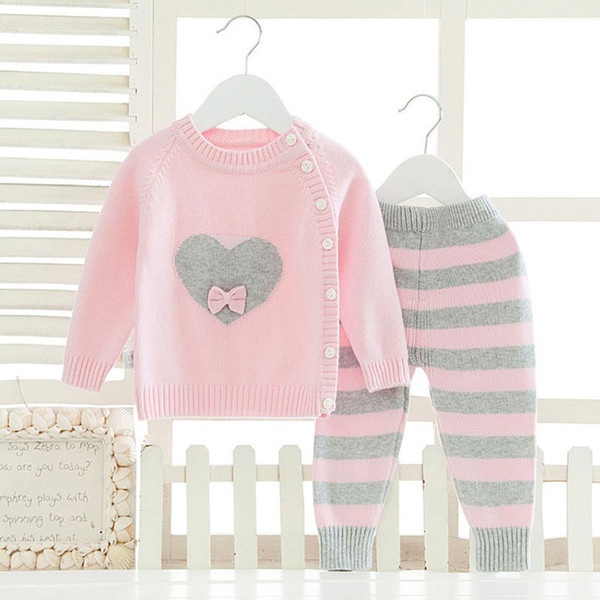 Long Sleeve Clothes Sets For Newborns Baby Girl Fashion Winter Warm Clothing Suit Cartoon Woolen Knitted Cloth Infant Boy Kids J190520