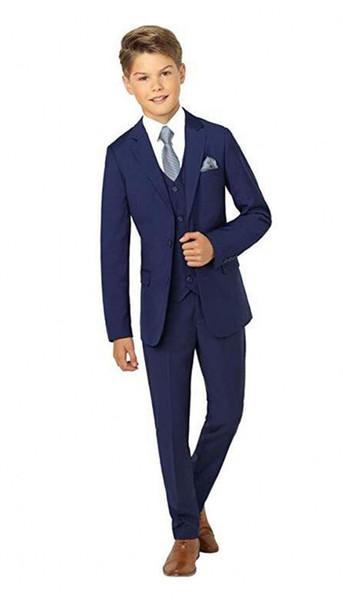 Popular Navy Blue Boys Formal OccasionTuxedos Notch Lapel Two Button Side Vent Kids Wedding Tuxedos Child Suit (Jacket+Pants+Tie+Vest) 13