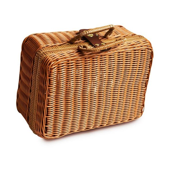 29*22*14cm Simulation Rattan Woven Lunch Bag For Women Men Travel Outdoor Vintage Fashion Storage Hand Box Picnic Tote Gift Bags