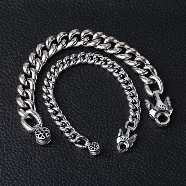 925 серебряные ювелирные изделия дизайнер ручной тяжелые бордюрные ссылки браслет разработан с уникальной застежка 3 РАЗМЕРА (9 мм 14MM 17MM) ДЛЯ МУЖЧИН
