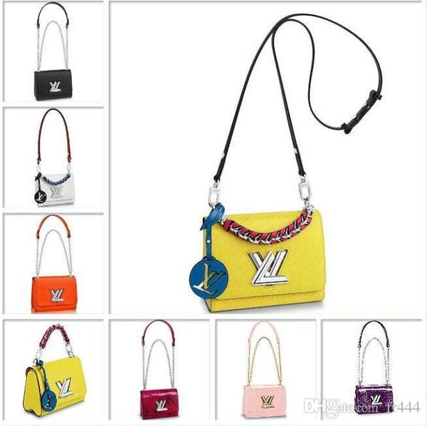 Louis LVLV Torção Bolsa de marca designer de moda de luxo Noite saco de Embreagem Bolsas de Couro Epi Sacos de Corpo Cruzeta TWIST PM M50332 Noir Clutch