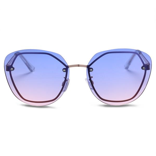 Yeni 2018 Çerçevesiz Kelebek Lady Güneş Kadınlar Metal Çerçeve Boy Güneş Gözlükleri Kızlar UV400 Benzersiz parti güneş gözlüğü FML