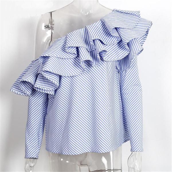 Mavi çizgili bluz
