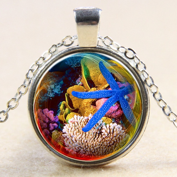 Underwater World Blue Starfish Pattern Glass Pendant Necklace Marine Life Starfish and Coral Photo Silver Necklace Fashion Personality