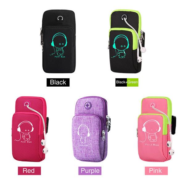 Taşınabilir Açık Aydınlık Spor Kol Bandı ile Çalışan Kol Çantası Kulaklık Delik Kol Paketi Çanta Cep / Cep Telefonu Tutucu Yeni