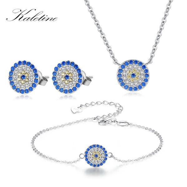 51e333dbed63b 2019 Wholesale Bridal Jewelry Sets 925 Sterling Silver Necklace Women  Earrings Bracelet Blue Zircon Turkey Round Evil Eye Jewelry Set From ...