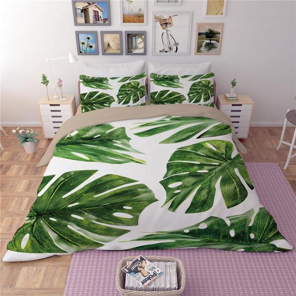 LLANCL Nature Birds Fresh Leaves Printed Quilt/Duvet/Comforter cover Adult Bedroom 3pcs Polyester Christmas Gift Green Monstera Duvet Cover