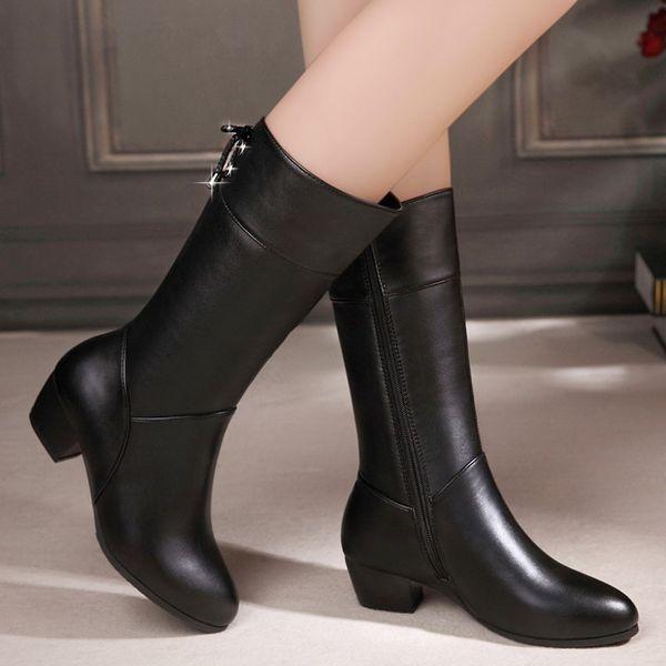 Moda Kış Boots Kadınlar Diz Yüksek Uzun Çizme Classics PU Deri Su geçirmez Kış Kadınlar Kristal Fermuar