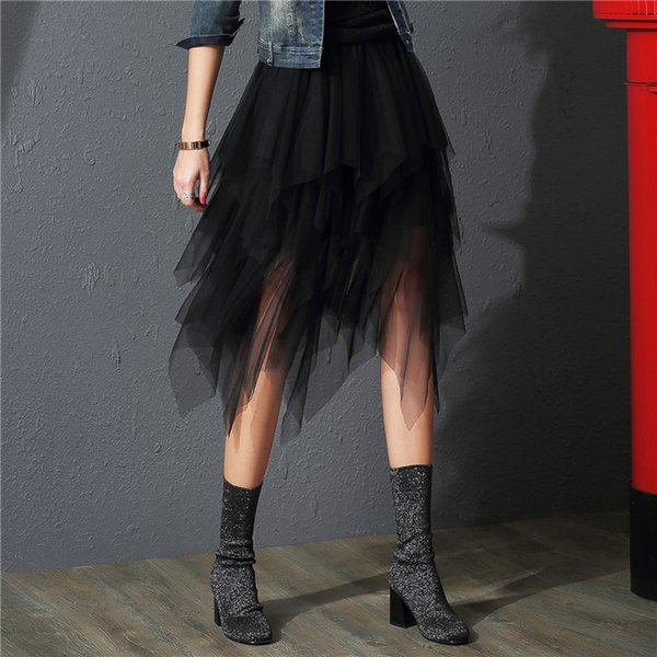 2019 Tulle Skirts Womens Fashion Elastic High Waist Mesh Tutu Skirt Pleated Long Skirts Midi Skirt Saias Faldas Jupe Femme Y19050602