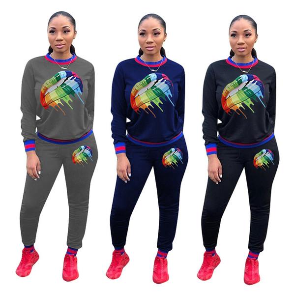 Женщины печати спортивный костюм повседневная из двух частей набор с длинным рукавом толстовки леггинсы дизайнер осень зима одежда мода наряды бег костюм 1257