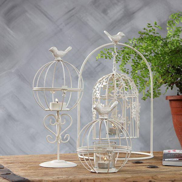 European Style Bird Cage Tea Light Holder Vintage Iron Cutwork Hanging Candle Lantern Retro White Candlestick for Home Wedding Party