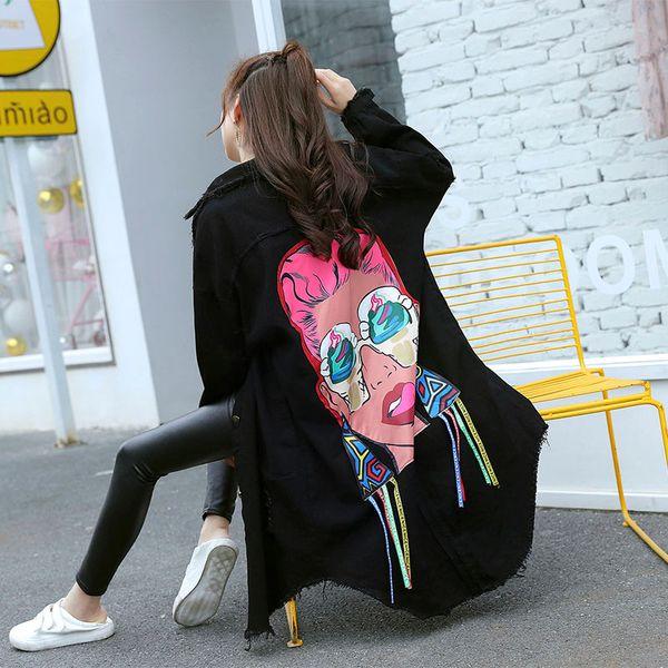 Giacche da donna a maniche lunghe da donna a maniche lunghe con stampa a sbavatura casual nere stampate casual stile boyfriend