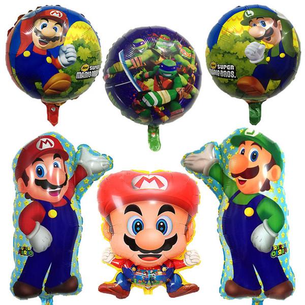 2019 Super Mario Bros Balloons Party Classic Toys Game Foil Baloons Cartoon Luigi Mario Mylar Air Helium Balloon Super Hero Birthday Party Decor From