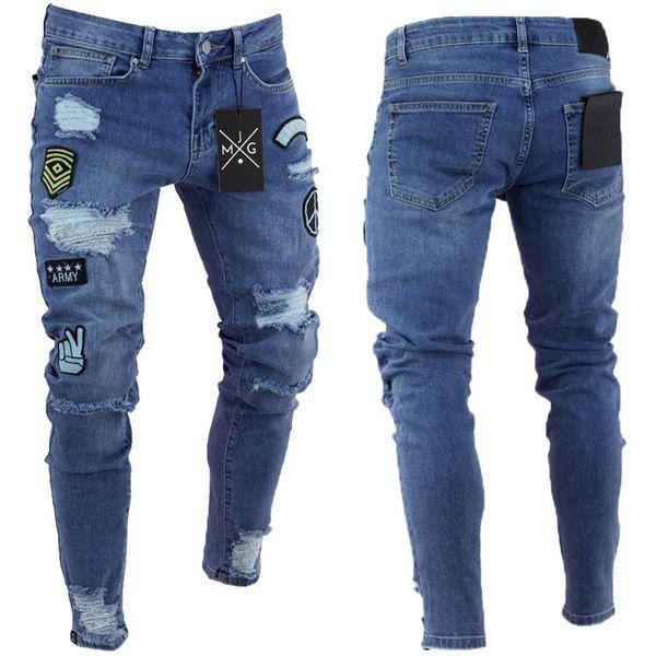 estilo americano Europeia 2018 buraco retro joelho New Men elásticos Jeans desenhos animados remendo Skinny Jeans Slim Fit moda pé pequeno