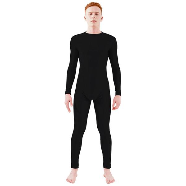 Ensnovo Mens Long Sleeve Zipper Back Full Body Suit Ballet Dancewear Unitard Costumes Full Body Tights