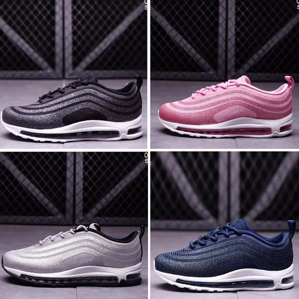 Best Quality Kids 97 OG Tripel White Metallic Gold Silver Bullet Discount Children 97 Premium Big boys girls Running Shoes Sport Sneakers